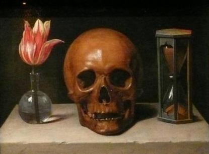 crâne, fleur et sablier