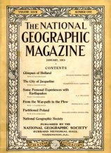 Couverture ancienne magazine National Geographic - 1915